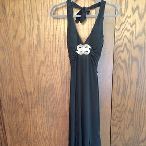 Mary L Couture Black Open-Back Gown